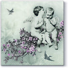 5 Single Paper Table Napkins for Decoupage * Vintage  Angels Birds Butterflies