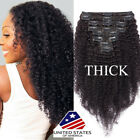 Mongolian Afro Kinky Curly Clip in Remy Human Hair Extension THICK Double Weft F