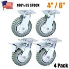 4pcs Heavy Duty Industrial Rubber Caster Wheels 4'/ 6' Swivel,Ball bearing