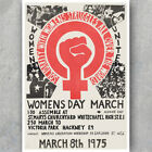 A3 A6 Vintage Feminist 1975 Poster - WOMENS DAY MARCH - England Feminism Print