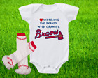 Atlanta Braves Outfit Onesie And Ruffle Leggings Set Watching WIth Grandpa on Ebay