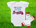Atlanta Braves Outfit Onesie And Leggings Set Watching WIth Daddy on Ebay