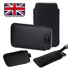 Black Leather Slim Pull Tab Phone Cover Sleeve Pouch For Samsung Galaxy A50 A51