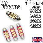 C5w No Error Car Led Bulbs 12 Smd Xenon White Lights Canbus Festoon Interior Hid