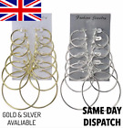 Gold Silver Earrings Plain Hoops Round Fashion Small Big Multipack Jewellery Uk