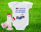 Los Angeles Dodgers Outfit Onesie And Ruffle Leggings Set Watching WIth Mommy on Ebay