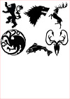 Game Of Thrones House Logos Vinyl Decal Sticker Water Bottle/ Glass