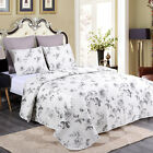 Chinese Rose Quilt Set King Queen 3 Piece Floral Bouquet Farmhouse Reversible
