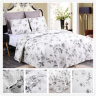 Chinese Rose Quilt Set King Queen 3 Piece Floral Bouquet Farmhouse Reversible image
