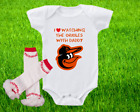 Baltimore Orioles Outfit Onesie And Ruffle Leggings Set Watching With Daddy on Ebay