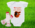 Baltimore Orioles Outfit Onesie And Ruffle Leggings Set Watching With Grandpa on Ebay