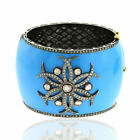4.74Ct Pave Diamond 18K Gold 925 Sterling Silver Bangle Enamel Jewelry Gift