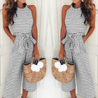 Womens Summer Striped Wide Leg Jumpsuit Ladies Beach Holiday Playsuit Trousers
