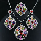 Fashion Lady Jewelry Set 925 Silver Filled Colorful Topaz Necklace Earrings Ring