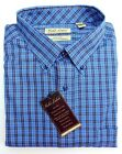 NWT Gold Label Roundtree Yorke Blue Gold Check LS Men Shirt Big Tall Many Size
