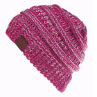 Women's Ponytail Beanie Ribbed Winter Messy Bun Cable Warm Soft Knit Hat AU