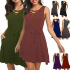 Summer Womens Sleeveless Loose Casual Swing T-Shirt Vest Tunic Dress with Pocket