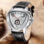 New Triangle Stainless Steel Case Leather Automatic Mechanical Mens Wrist Watch