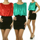 S M L Dress Mini Shimmer Metallic Blouson Cocktail Skirted Ruched Red Green