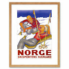 Travel Winter Sport Norway Snow Ski Home Smike Pipe Framed Wall Art Print