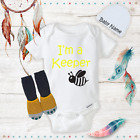 I'm a Bee Keeper Honey Funny Baby Onesies Beanie Socks Baby Shower Gift