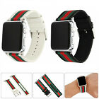 For Apple Watch 5/4/3 Band Pattern Stripe Sport Replacement Leather Nylon Strap image