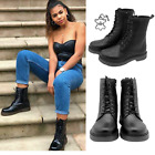 Women Combat Black Lace up Boots Chunky Sole Goth Festival Leather or Vegan Size