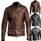 New Men's Genuine Lambskin Leather Jacket BLACK  BROWN Slim fit Biker B32