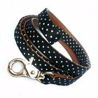 Polka Dot Dog Lead Black Pet Puppy Leash Fabric Brown Vegan Leather New Fast UK