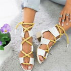 2019 Fashion Lace Up Womens Sandals Bandage Strap Ankle Block Shoes Casual US