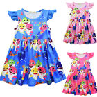 Lovely Kids Baby Shark Dresses Cartoon Printed Girls Princess Dress 3-8 Years