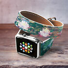 Claude Monet Aple Watch Band Floral iWatch Strap 38 42mm Flowers Leather Strap