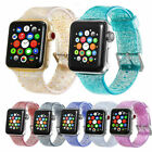 US Shiny Glitter Silicone Wrist Strap For Apple Watch 38/40/42/44mm Iwatch Band image
