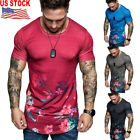 Men Fashion Casual Summer Flower Print Short Sleeve T-Shirt Sports Fit Slim Tee image