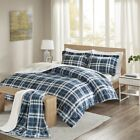 Comfort Spaces Aaron Plaid Print Sherpa Comforter Set with Throw image