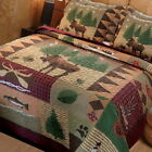 Queen King Size Bed Log Cabin Plaid Lodge Bedroom Moose 3 pc Quilt Set Hunting image