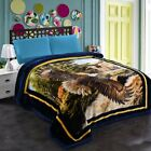 "Korean Mink Velvet Fleece Blanket 2 Ply Printed Raschel Blanket 85"" x 93"" 10LB image"
