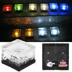 Solar Powered LED Glass Ice Cube Brick Block Frosted Garden Pathway Light DX