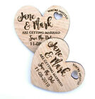 Wooden Save The Date Wedding Magnets Personalised Wood Fridge Rustic Heart Oak