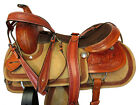 CUSTOM LEATHER TOOLED HORSE ROPE BORDER 15 16 17 ROPING RANCH WESTERN SADDLE SET