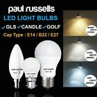 Paul Russells FROSTED LED CANDLE GLS GOLF BALL E14/B22/E27 DAY WARM COOL BULBS