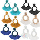 Hoop Fan Tassel Earring Fringe Circle Round Drop Straw Boho Earrings Women Girl image