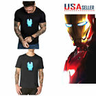 2019 LED T-Shirt Avengers IRON MAN Tony Stark Arc Reactor Black Light-Up Shining