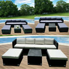 7pcs Rattan Garden Corner Sofa Table Chair Furniture Set Grey Brown Black Patio