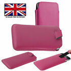 Pink Leather Slim Pull Tab Phone Cover Pocket Pouch For Panasonic Eluga Z1 Pro