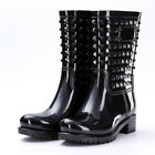 Womens Wellies Wellington Ladies Studded Design Boots Festival Rain Shoes Size