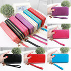 Double Zipper Women Patent Leather Wallet Large Capacity Phone Bag Wrist Clutch image