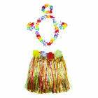 One Set Flower Wristband Costume Kids Hawaiian Lei Grass Skirt Garland Hula