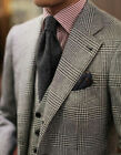 Tweed Houndstooth Men's Groom Suits Business Formal 3 Pieces Plus Size Tailored
