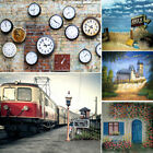 Vintage Tourism Brick Wall Backdrop Time Clock Flag Background 3x5/5x7/6x9/10x10